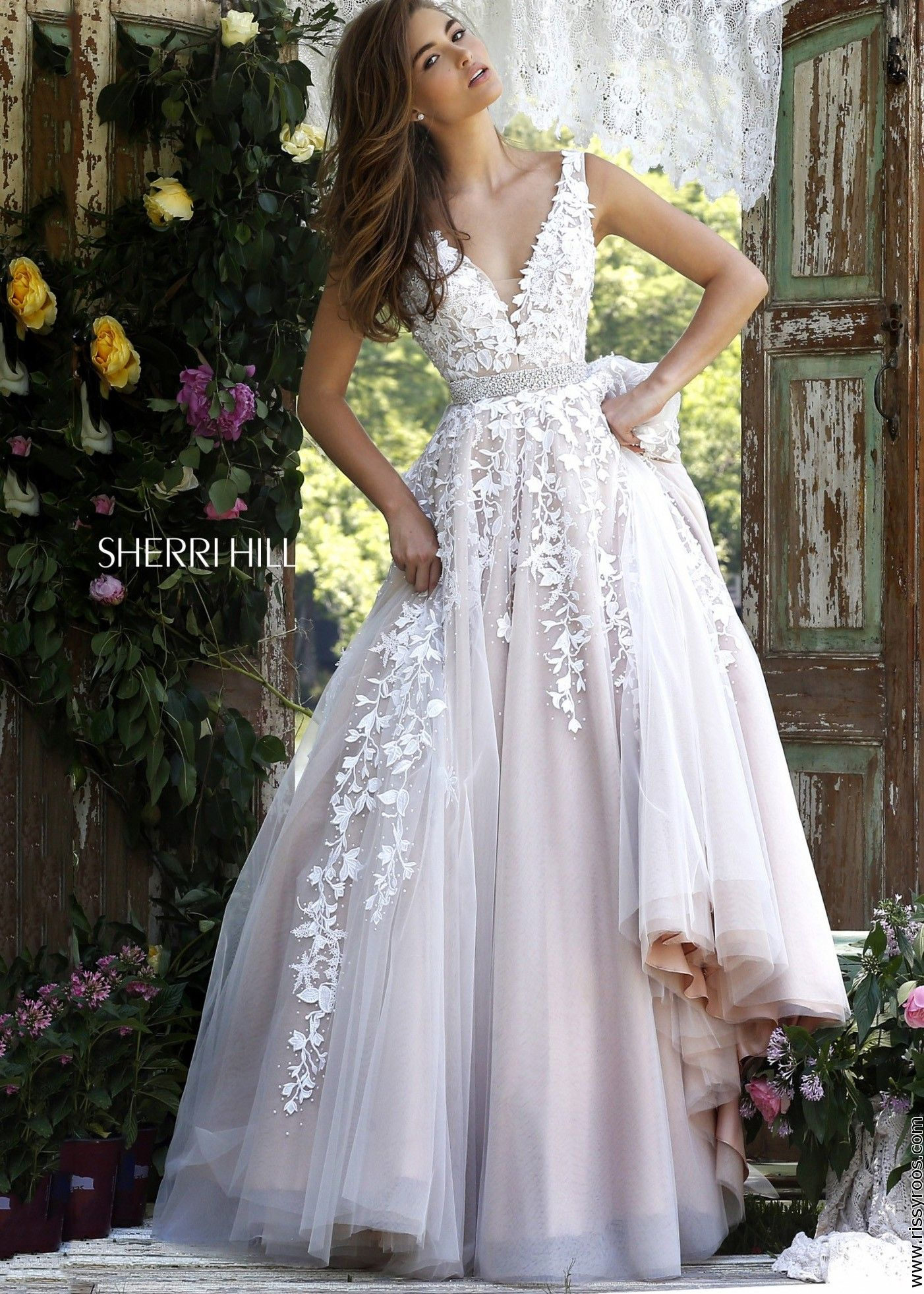 Sherri hill fancy lace embroidered ball gown fancy shmancy
