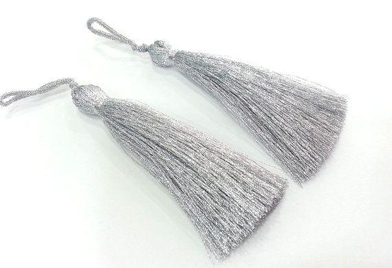 2 pcs (78 mm - 3 inches)  Silver Tassel ,   G2859