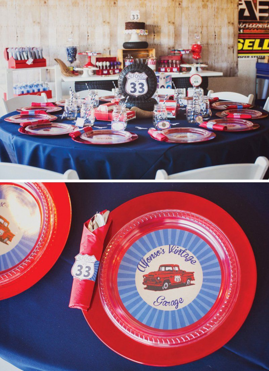 vintage garage birthday party tablescape #classiccars #classic #cars #birthday #…