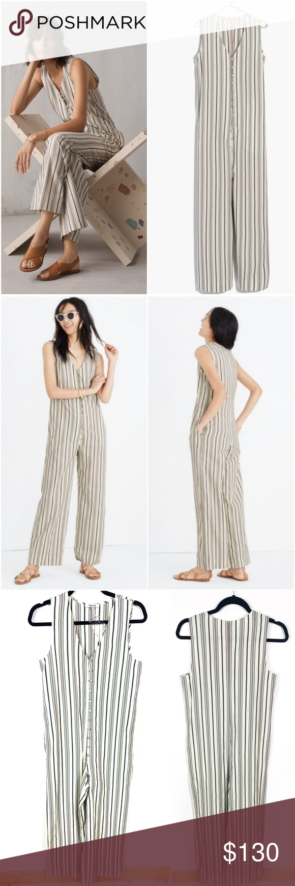3e367959 NEW Madewell Green Striped Button Down Jumpsuit XS New with Tags NEW  Madewell XS Green Striped