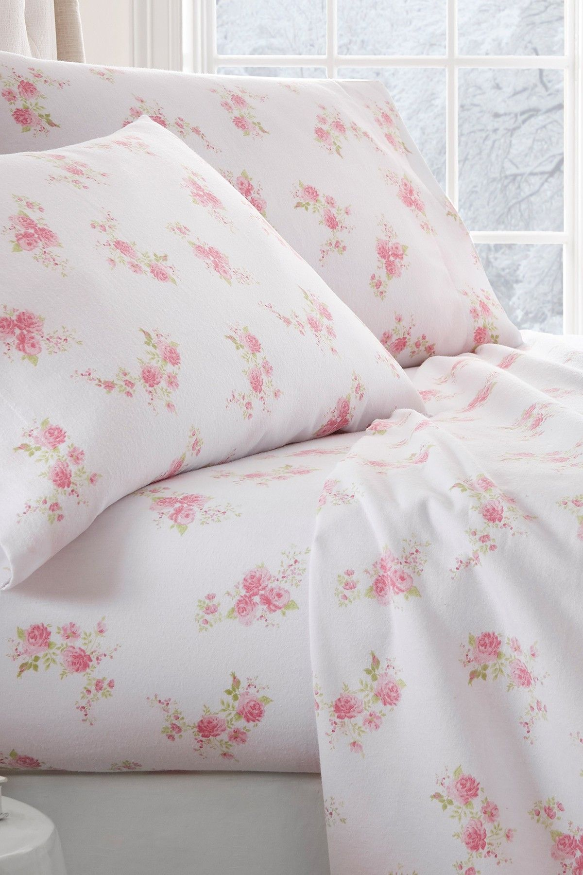 hotel collection premium rose pattern flannel bed sheet set pink
