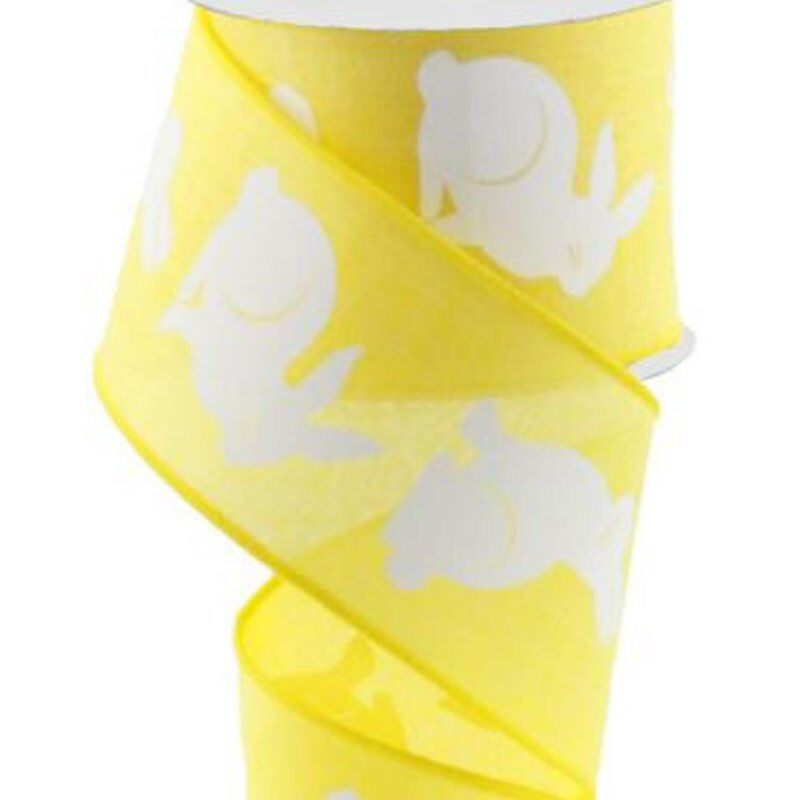 10 Yards Painted Floral on Canvas Wired Edge Ribbon Yellow, 2.5 Inch