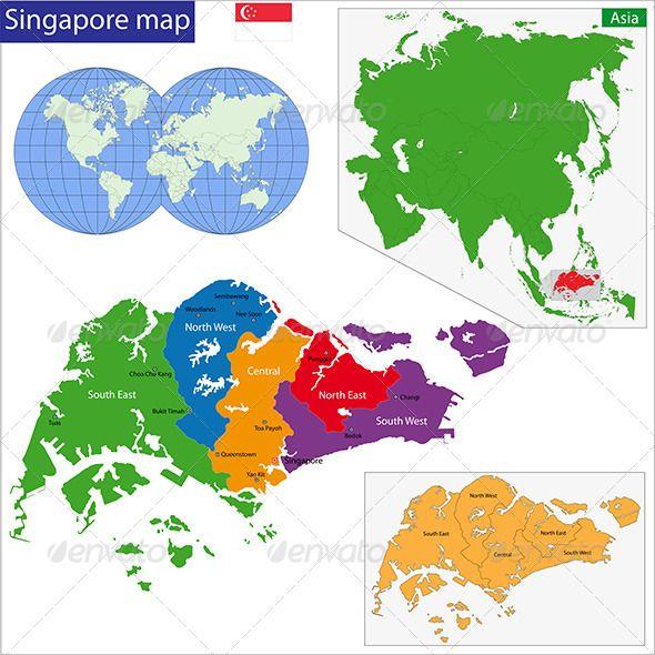 Singapore Map Pinterest