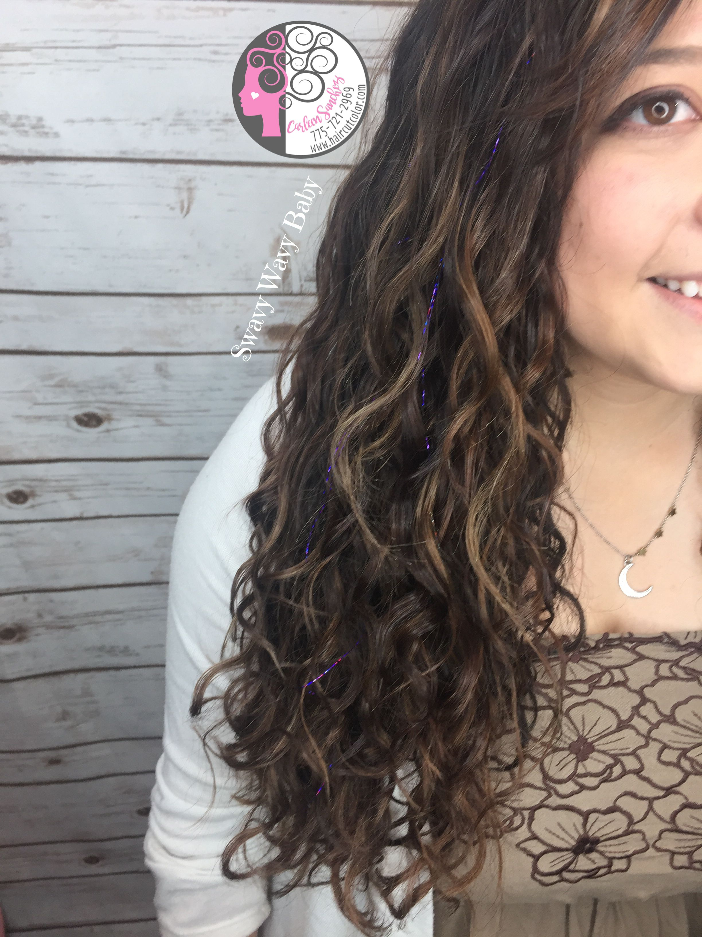 Naturally Curly Wavy Balayage Highlights Brunette Bronze Hair by