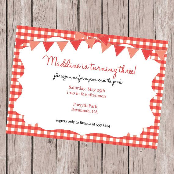 Red Picnic Invitation, Picnic Invitation, Picnic Invite, Picnic