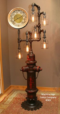 Steampunk Lamp W Antique Industrail Steam Gauge 168 SOLD