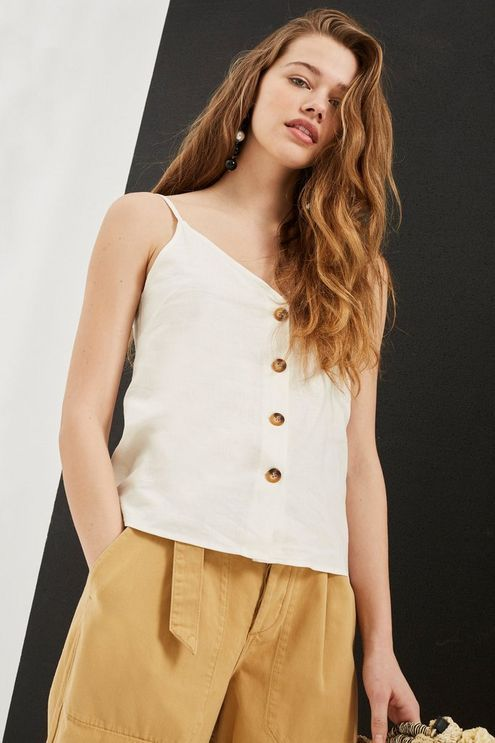 9269551c3c6 Womens Button Through Camisole Top - Ivory in 2019