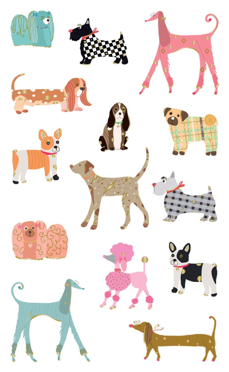 Turnowsky Chic Dogs Stickers Stationery paper Craft gifts and Craft