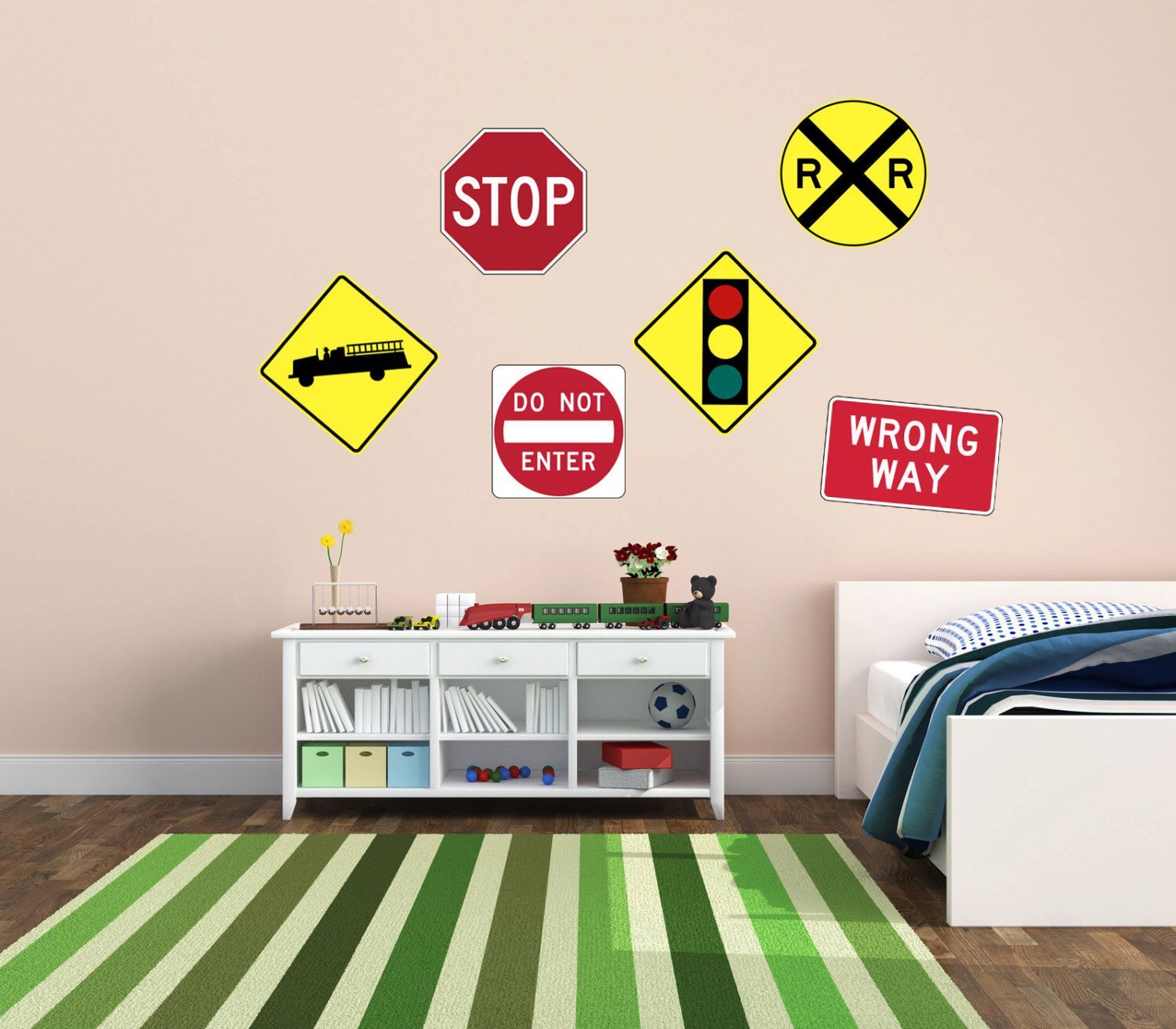 Road Sign Wall Decor Best Pick 2 Large Size Wall Decals  Road Sign  Boys Room Art Review
