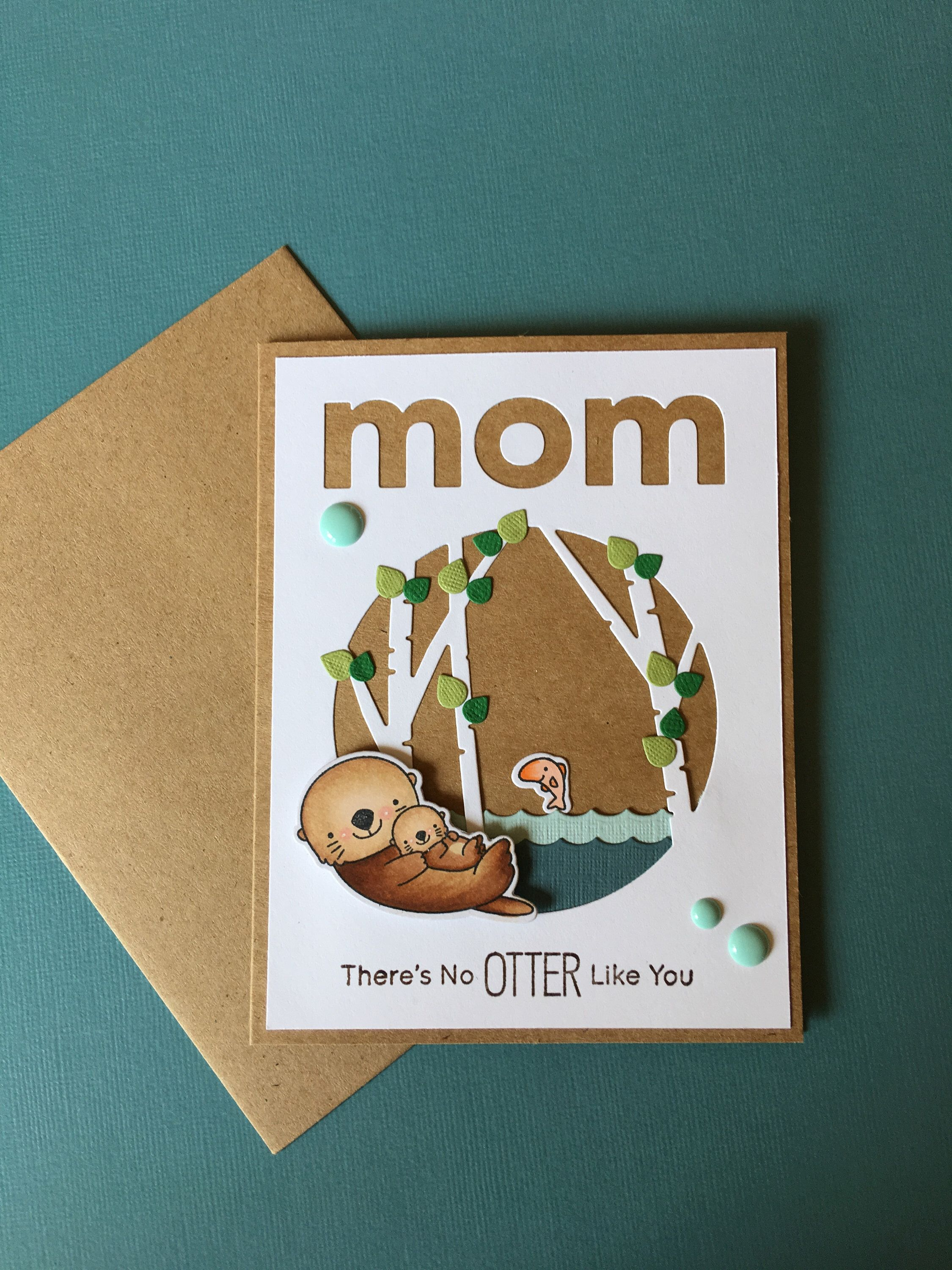 Handmade motherus day card otter love card funny motherus day