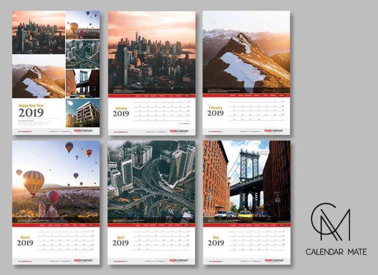 Raven Fancy Wall Calendar Design Template 2019 Complete Psd Files
