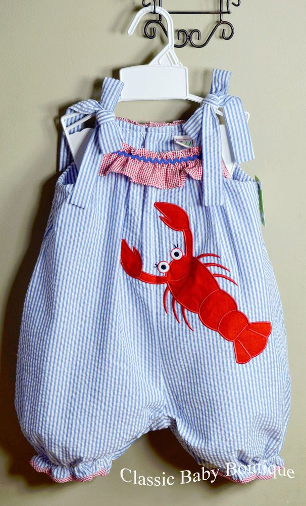 6901477d3 NWT Petit Ami Zu Lobster Ruffle Bubble Romper 12 18 24 Months Girls ...