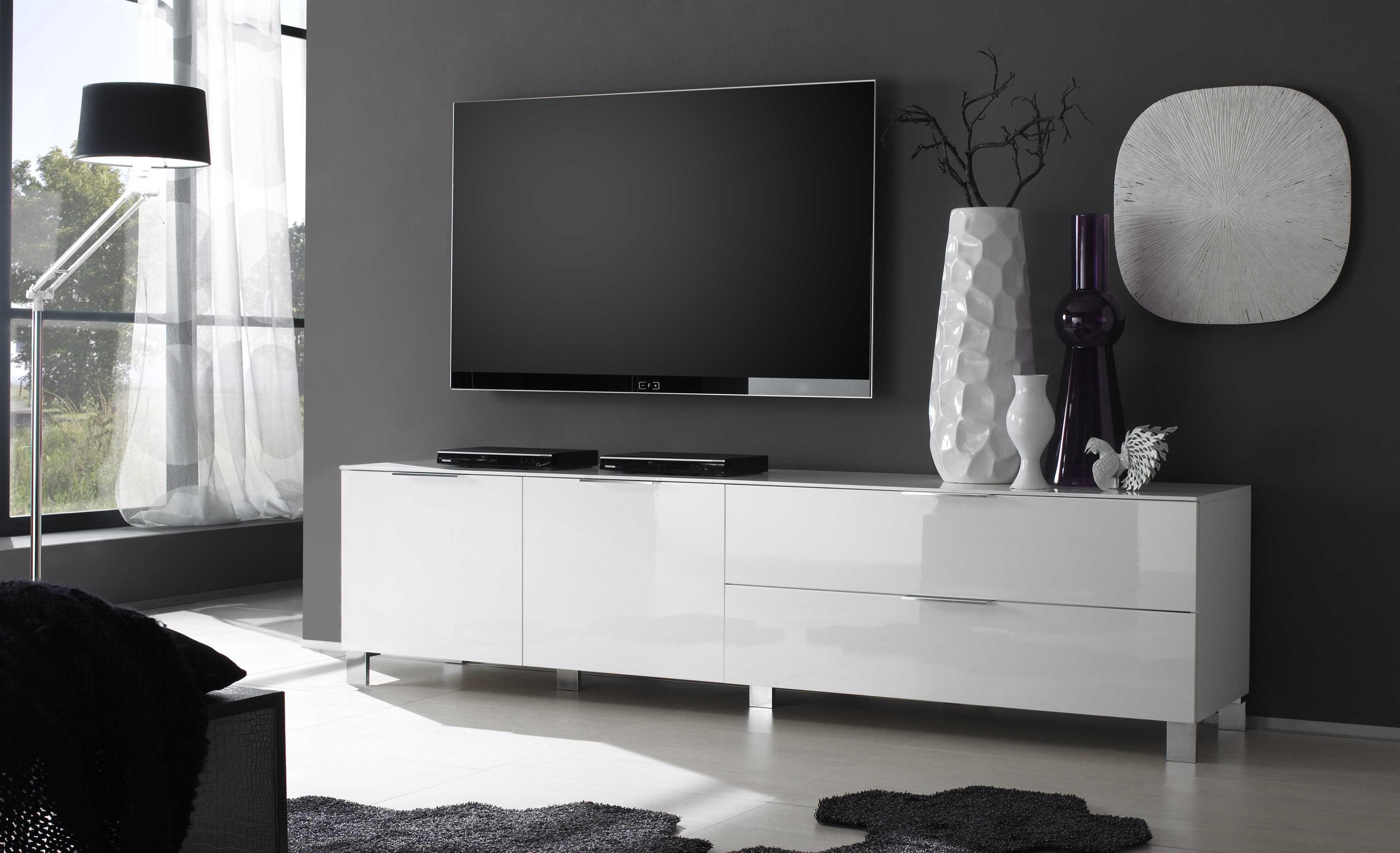 Ikea Wohnwand Ideen Italienisches Lowboard Weiss Lackiert In