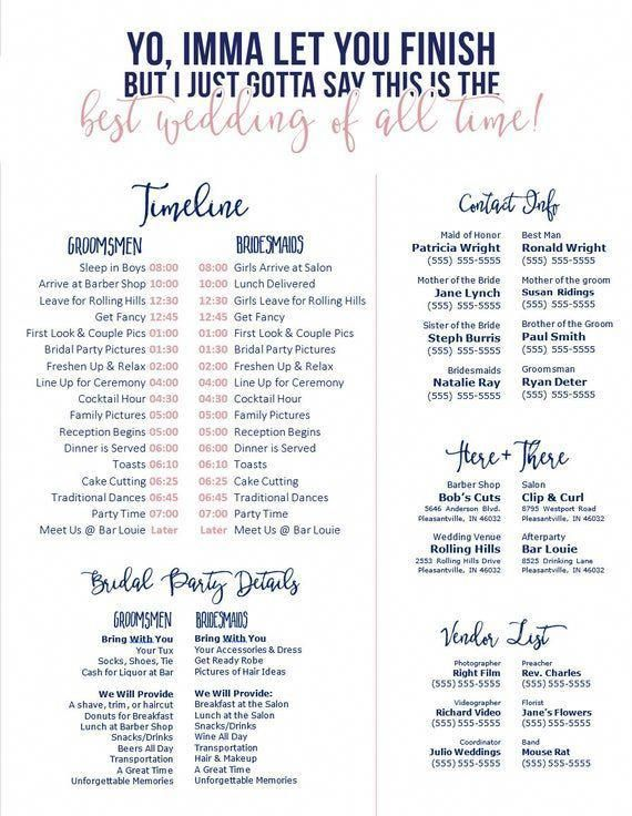Editable Navy & Blush Wedding Timeline - Imma Let You Finish - Best wedding of All Time - Edit in Word - Day of Wedding Schedule