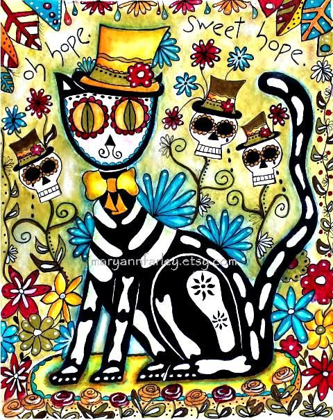 Day of the dead cat watercolor