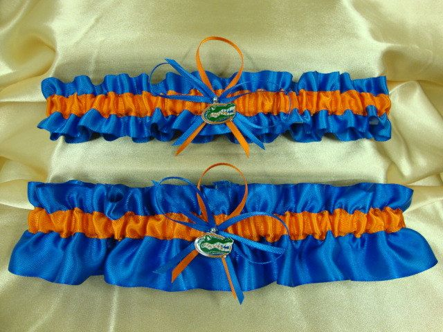Can Be Personalized Handmade Florida Gators Wedding Garter Set