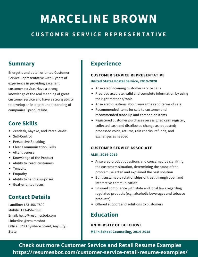 customer service resume samples and tips [pdf+doc objective example for job construction template professional cv fresh graduate