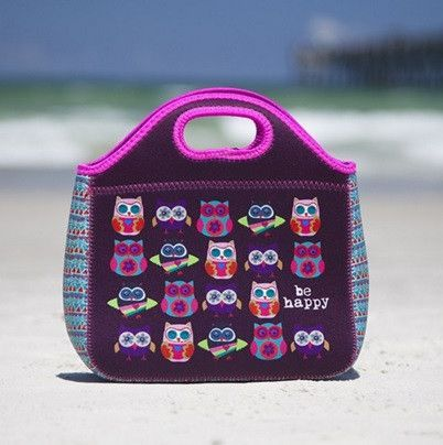 Owls Be Happy Neoprene Lunch Bag