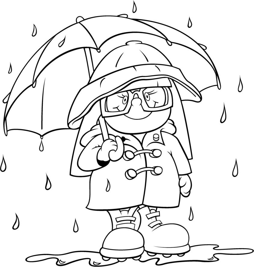 Rain gear coloring page | Weather and seasons activities ...