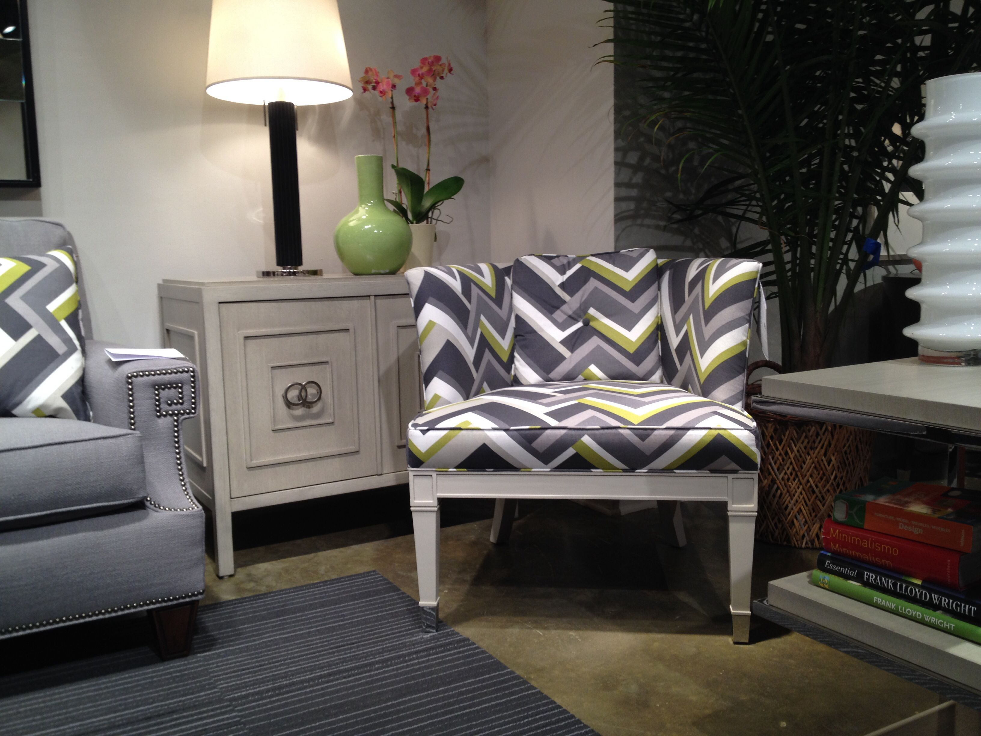 Adore the #chevron #fabric on this painted occasional