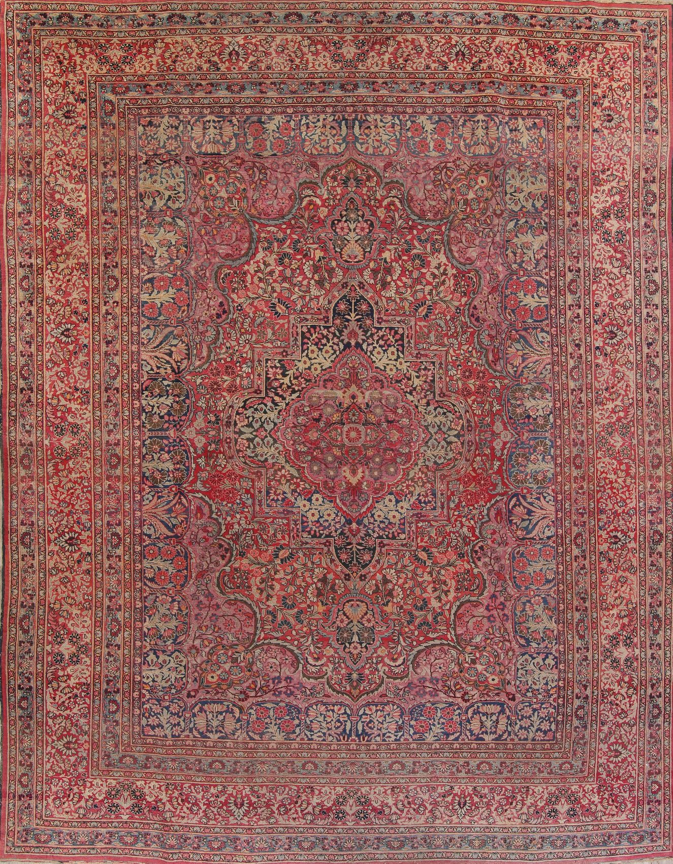 Antique Floral Red Dorokhsh Persian Hand Knotted Area Rug Wool