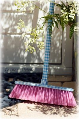 sweeping up with a pretty broom gingham gals pinterest