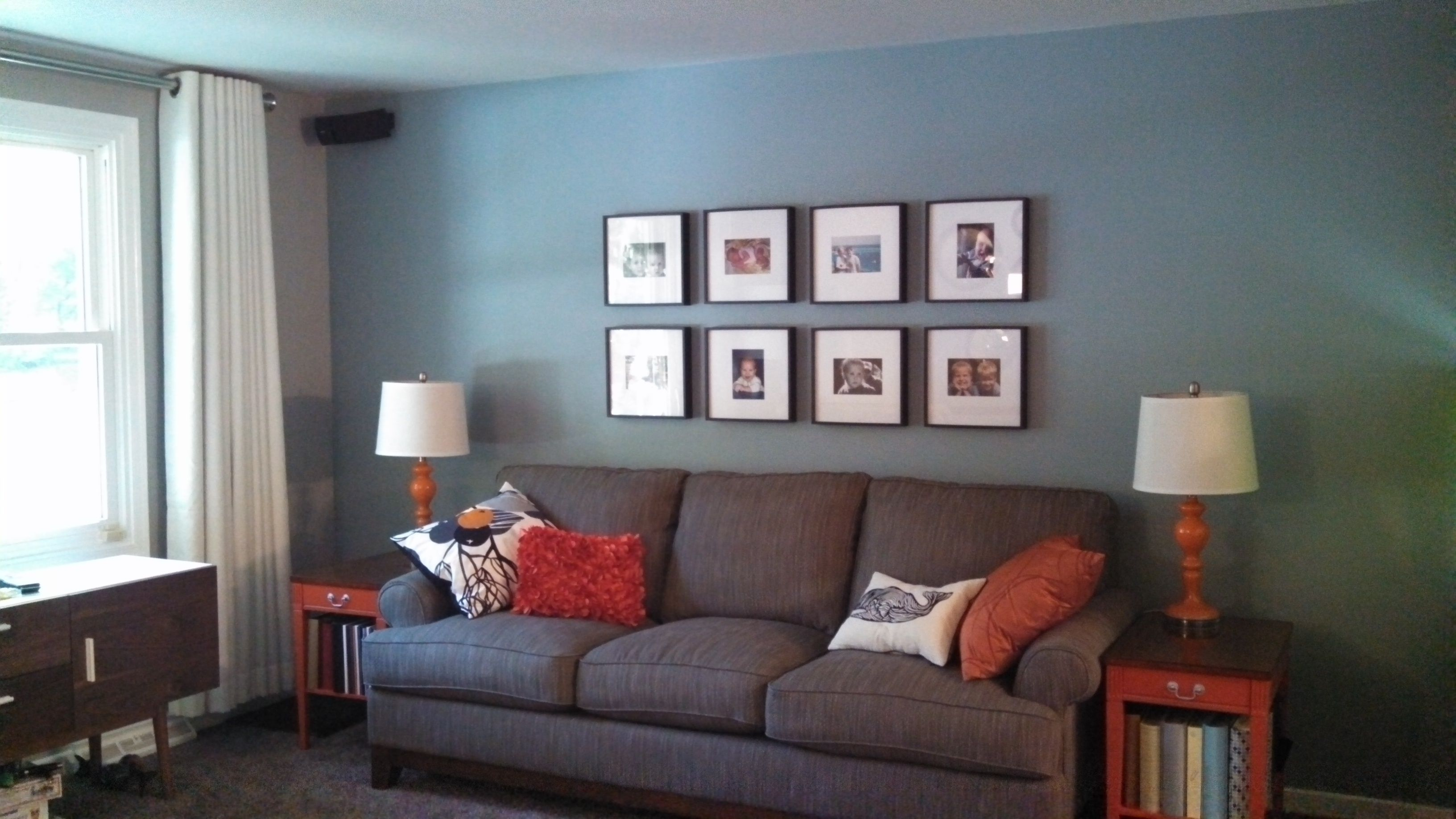 Gray Living Room Blue Wall Gray Sofa Orange Accent