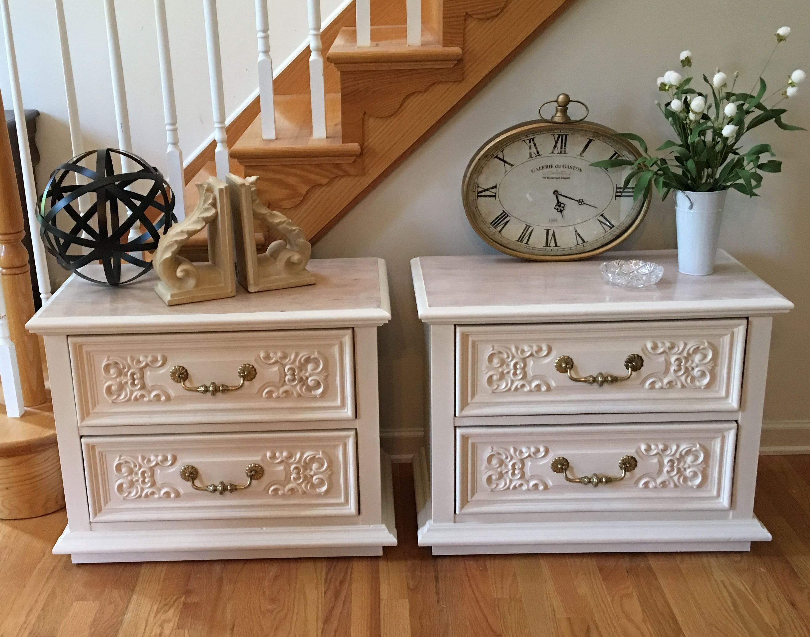 Vintage set of night stands were repainted with Renaissance Paint