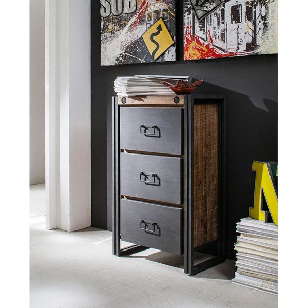 industrial chic kommode manchester akazie massiv metall industrie look furnlab loft. Black Bedroom Furniture Sets. Home Design Ideas