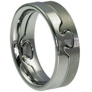 Tungsten Interlocking Puzzle Piece Wedding Rings