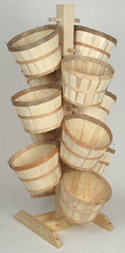 Tall Wood Tree Display Rack With 12 Half Bushel Baskets Natural