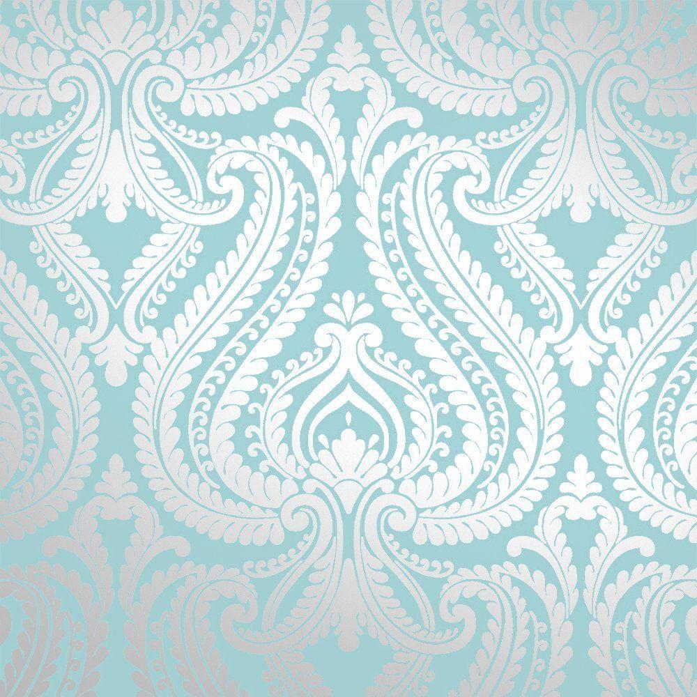 I Love Wallpaper Shimmer Damask Metallic Feature Wallpaper Teal