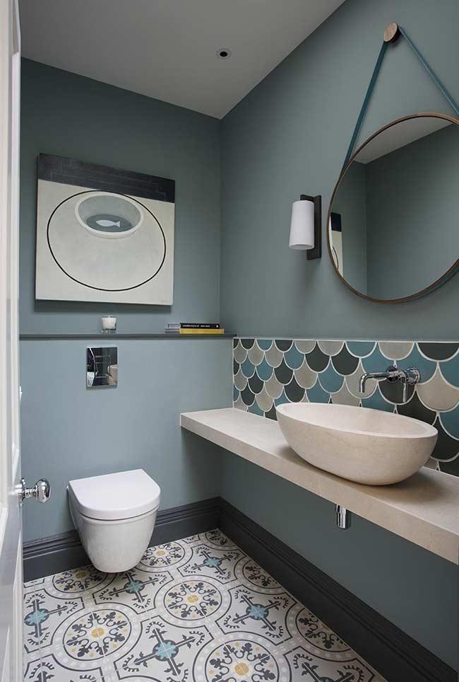 Photo of Blu-grigio in bagno