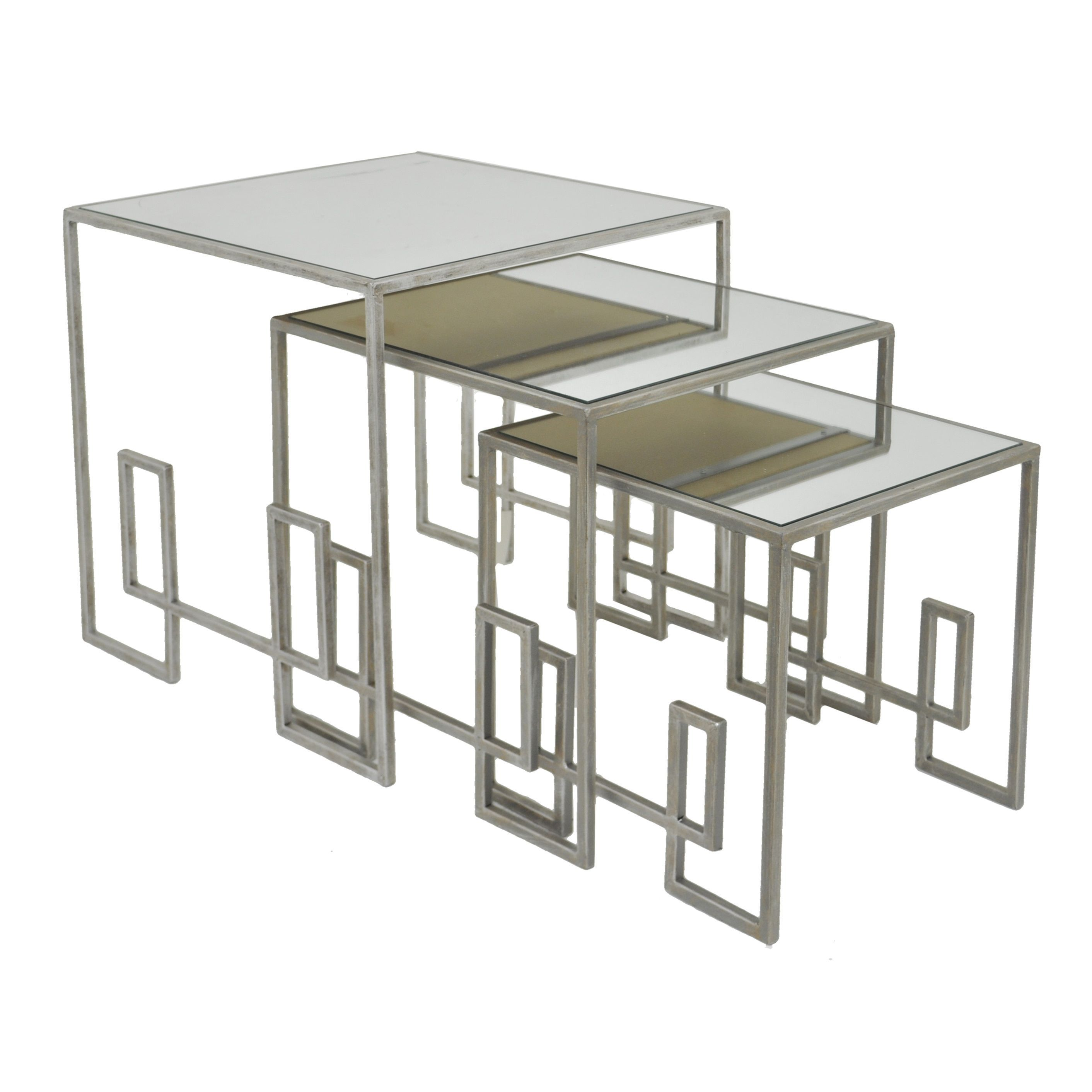 Three Hands Silver Gold Mirror Table Set of 3 Silver