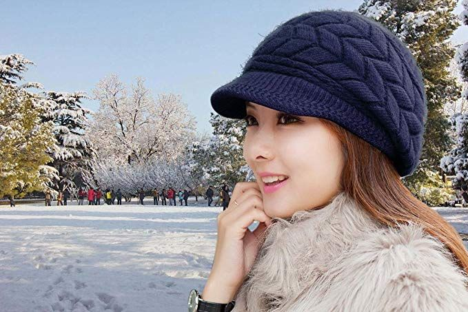 fea9efa6dce HindaWi Women Winter Warm Knit Hat Wool Snow Caps With Visor