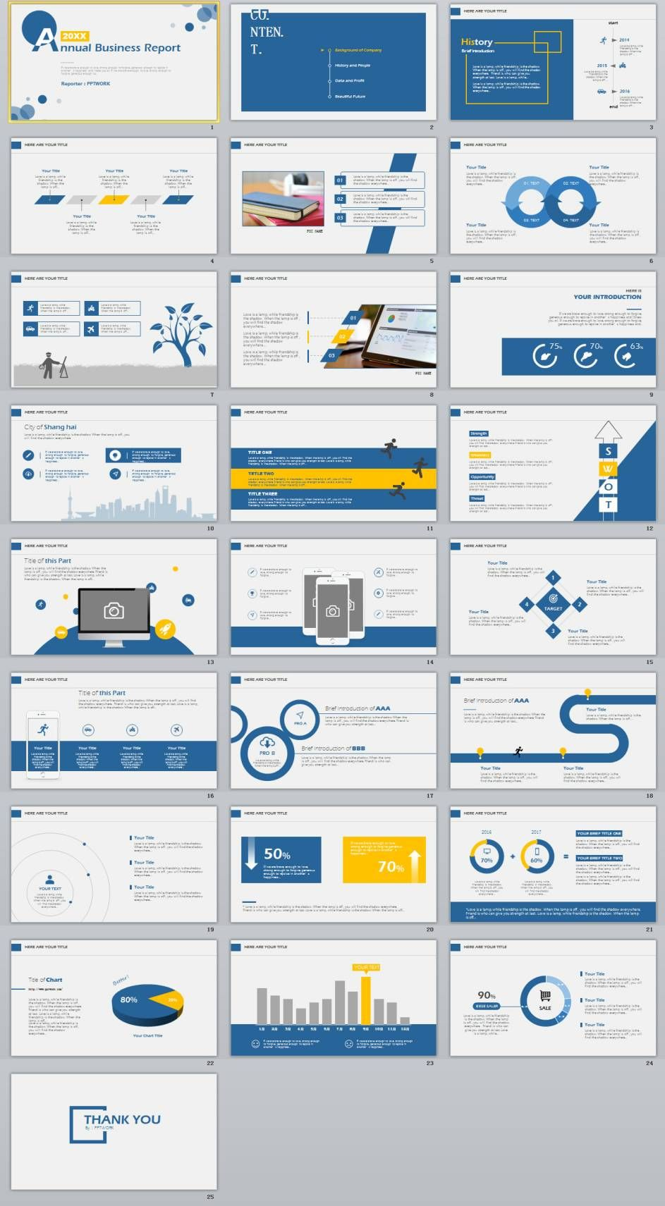 25 simple blue annual report powerpoint template 0 pinterest