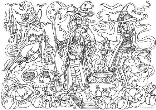 Witches Coloring Page Witch Coloring Pages Coloring Pages Detailed Coloring Pages