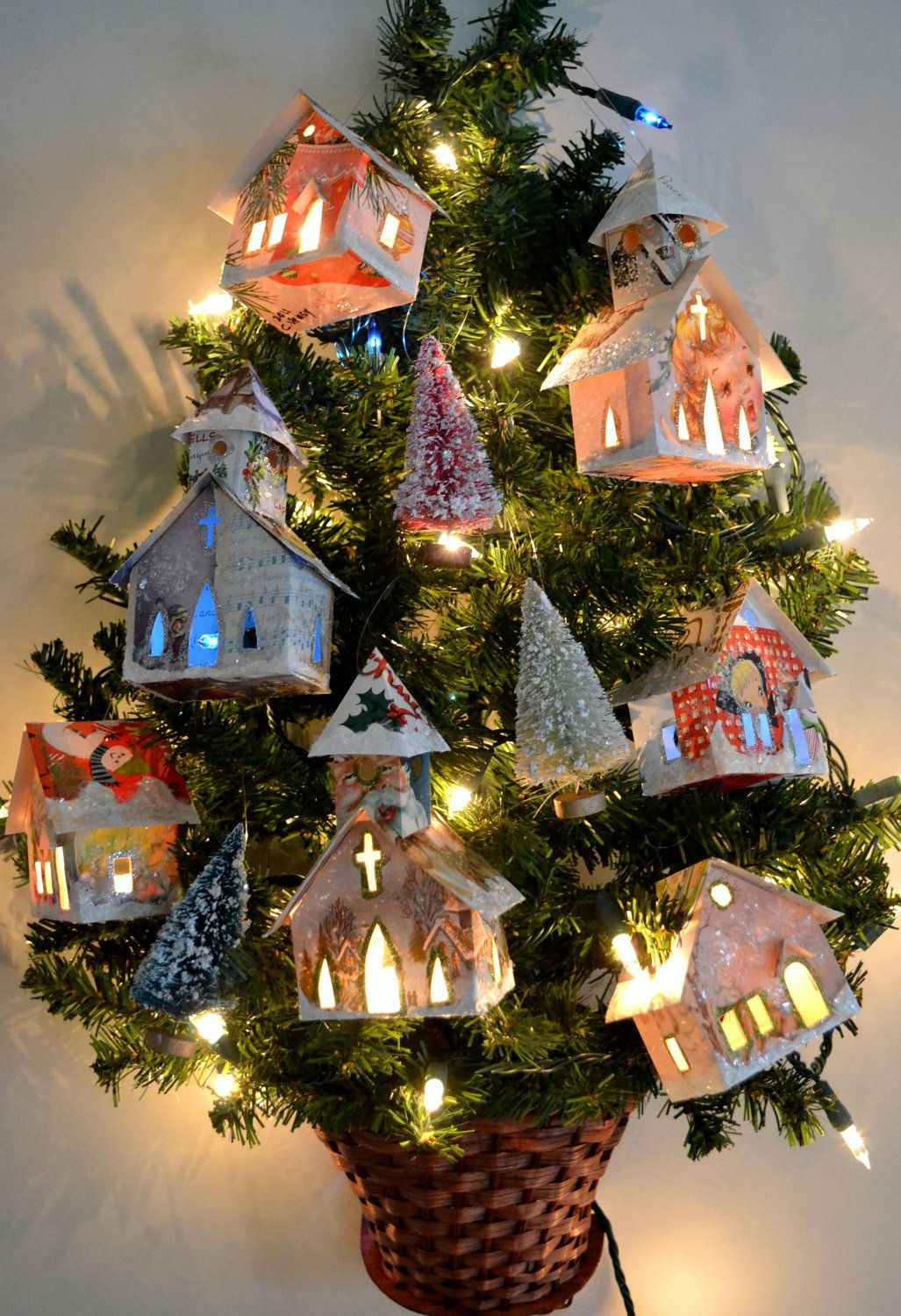 glitter house village ornaments light up handmade from vintage christmas cards etsy