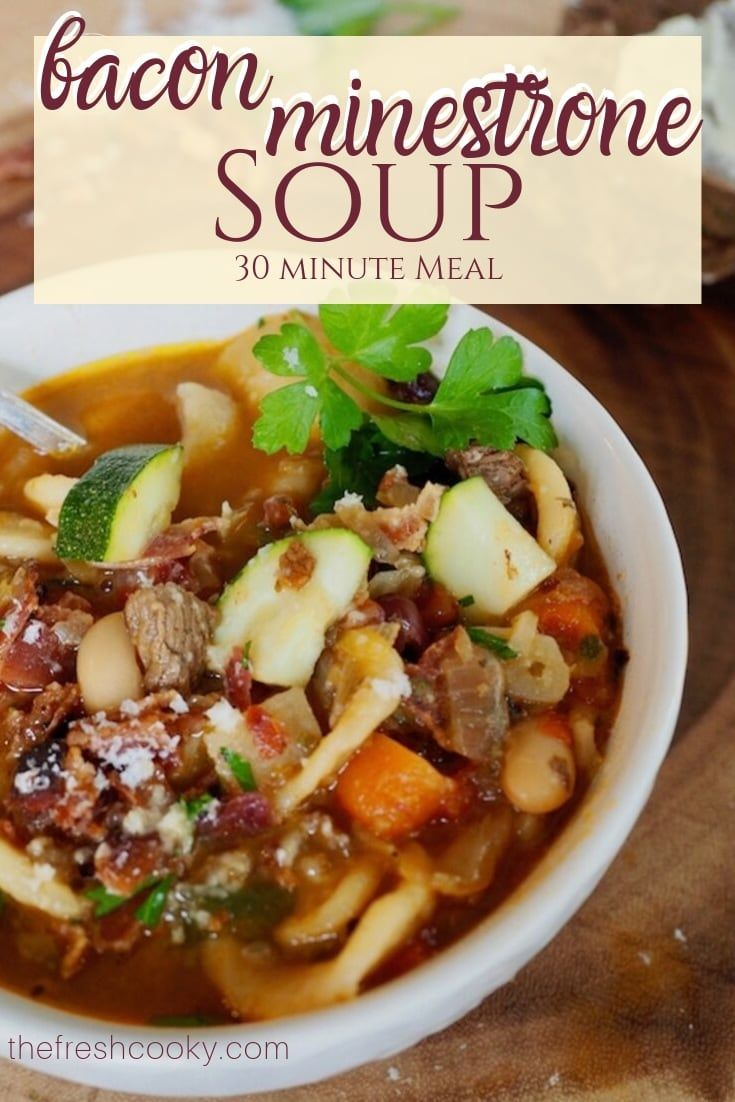 Best Bacon Beef Minestrone Soup Warm up with this hearty minestrone soup with smoky bacon and tende
