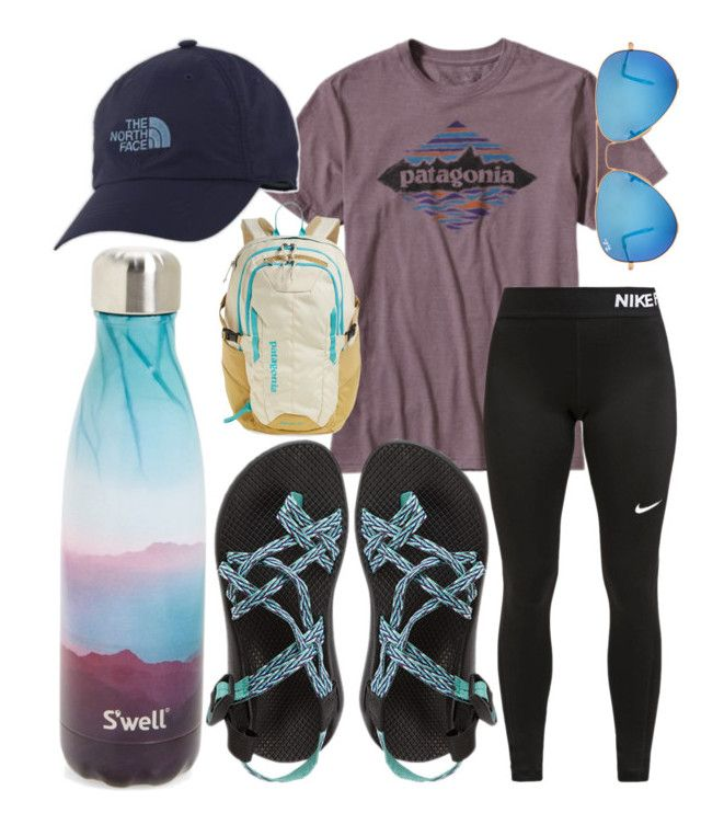 """""""I want to go hiking!"""" by jadenriley21 on Polyvore featuring Patagonia, NIKE, The North Face, Chaco, Ray-Ban and S'well"""