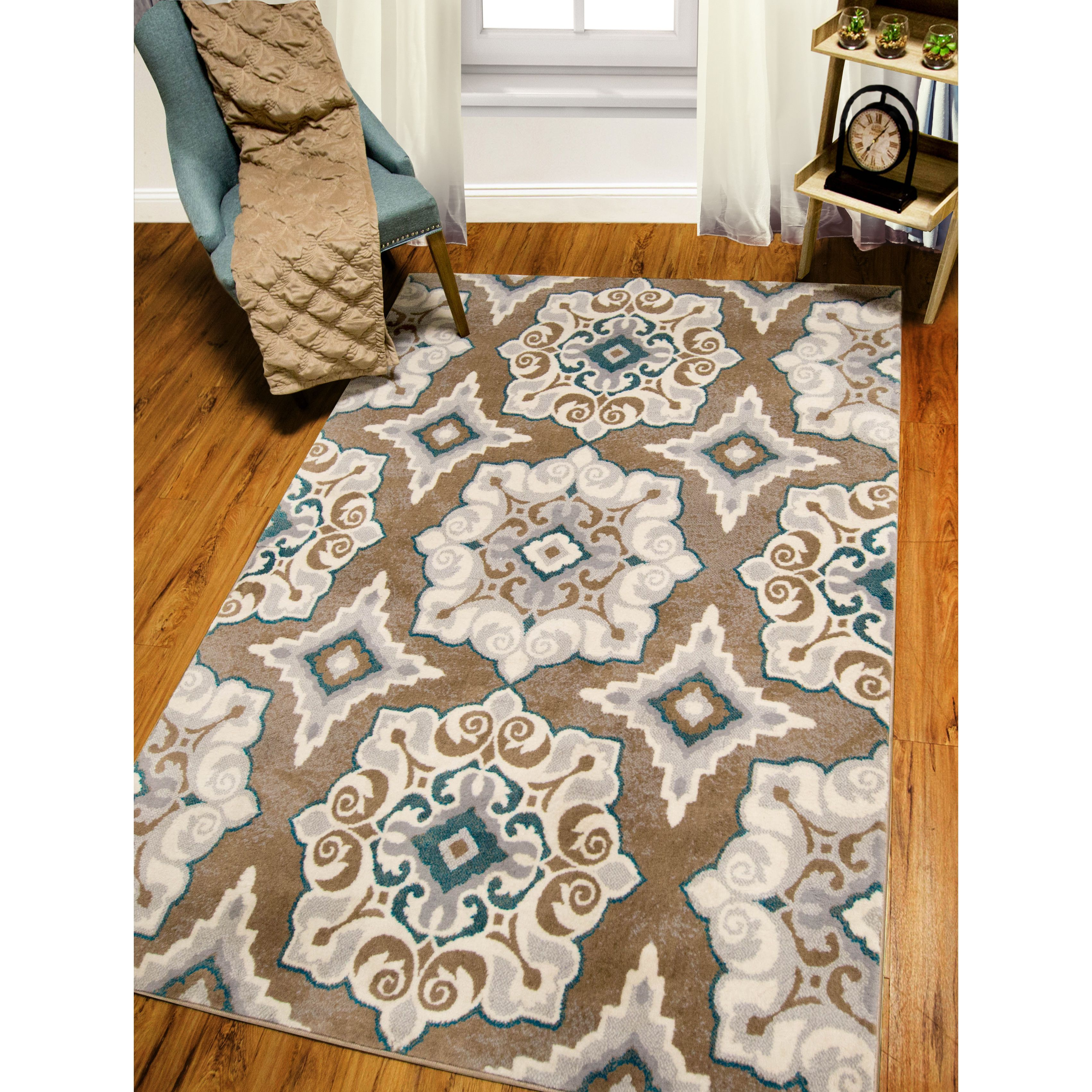 Andover Mills® Natural Cerulean Blue/Tan Area Rug