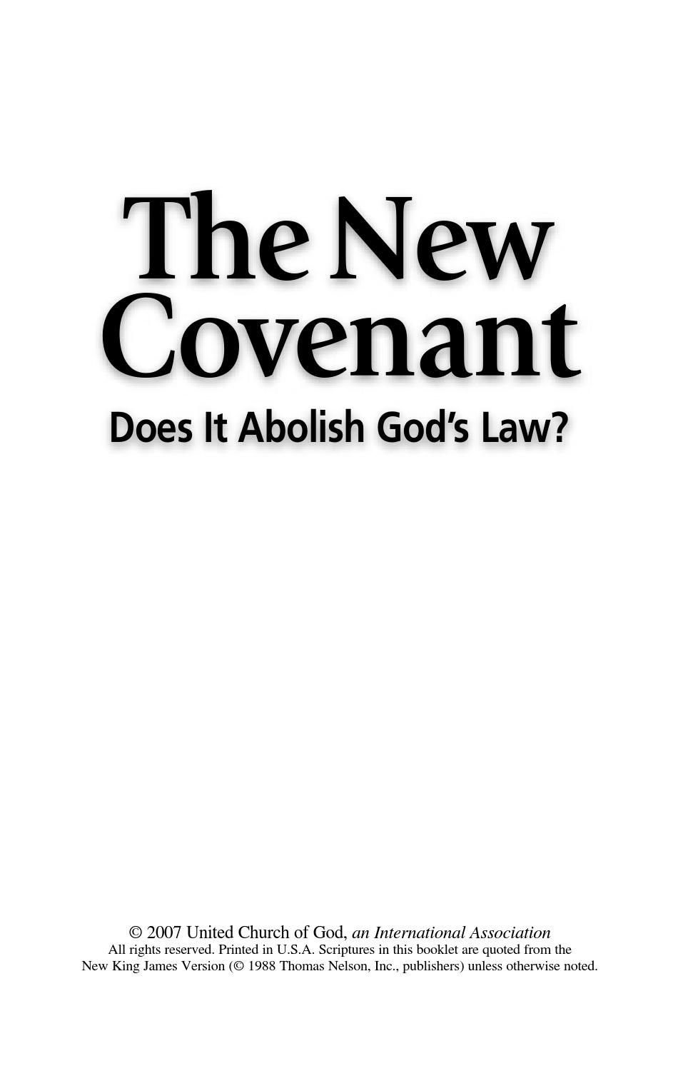 Bible Study Aid The New Covenant Does It Abolish God's