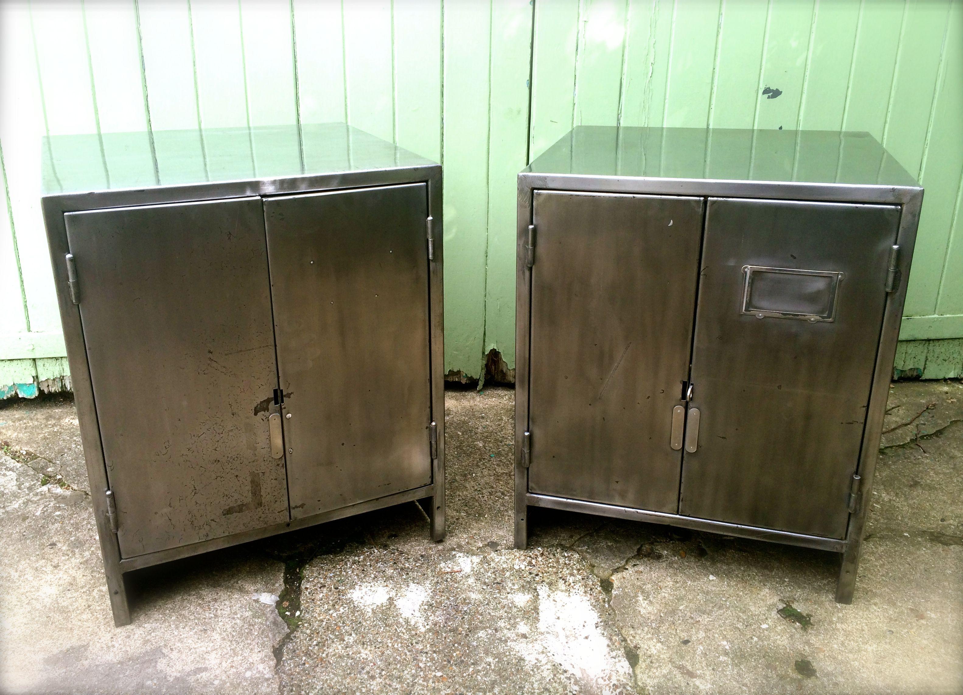 Vintage Industrial 1950s metal bedside cabinets