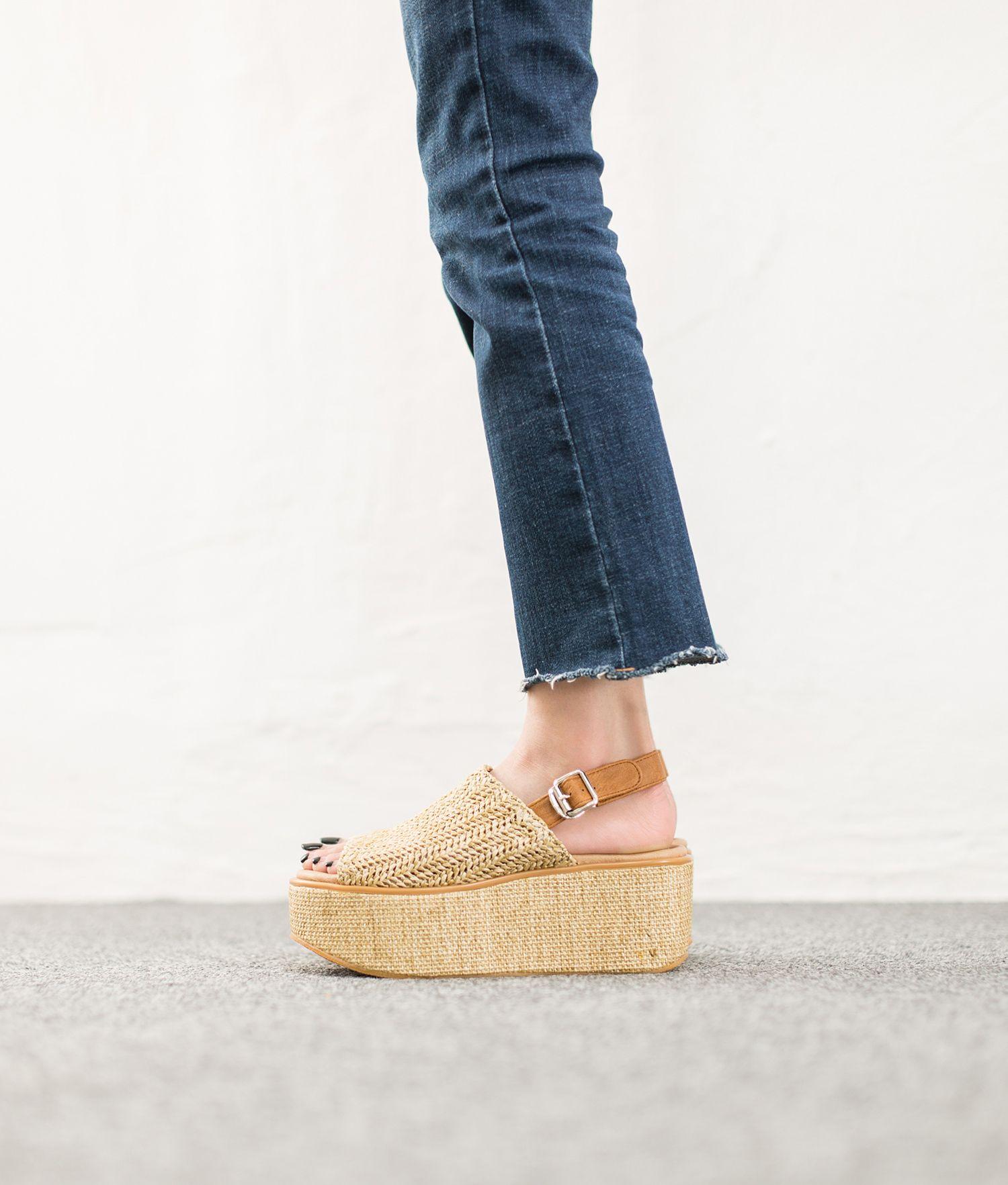 694f448b176 AnnaKastle Womens Woven Slingback Platform Sandals Beige