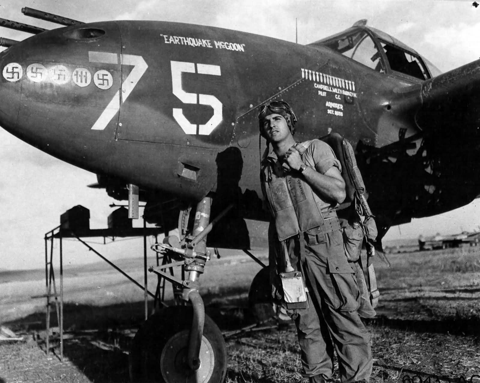 P 38 Lightning 75 Earthquake Mcgoon Pilot Lt Richard Campbell