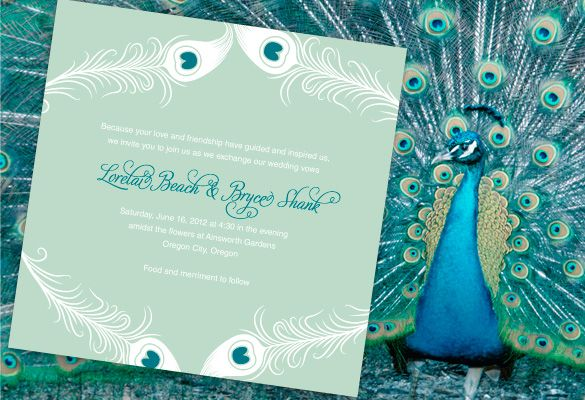 Mod Peacock Wedding Invitations personalized in mint