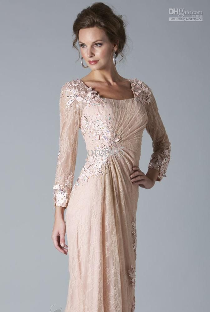 Gorgeous Pink Dress for Mothers Brides Long Sleeve Formal
