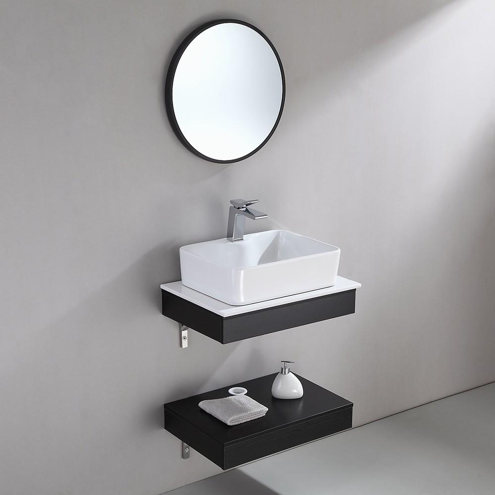 Modern 24 Floating Wall Mount Single Bathroom Vanity Set With Stone Resin Top Vessel Sink Black And White Small Bathroom Sinks Single Bathroom Vanity Small Bathroom Vanities [ 1000 x 1000 Pixel ]