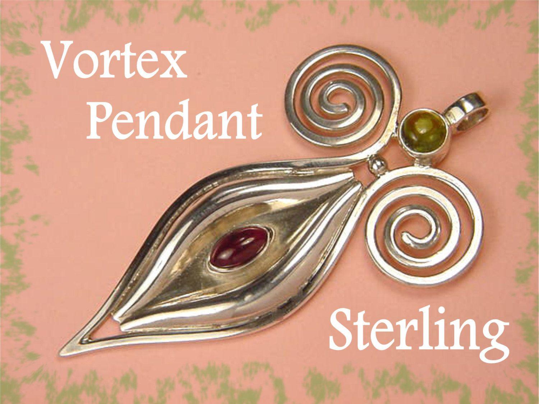 Sterling Silver - Raspberry Tourmaline & Peridot Artisan Pendant - Sedona Vortex Spiral Goddess - New Age Zen - Perfect Gift - FREE SHIPPING