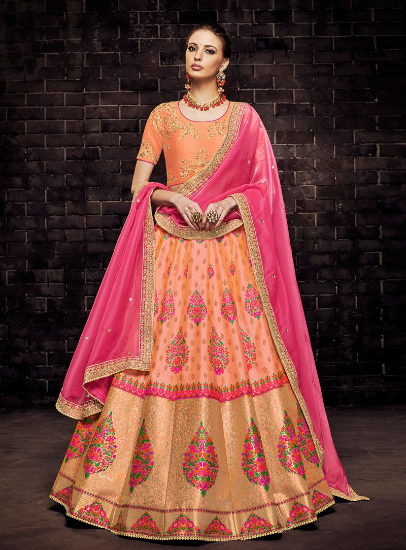 c84db1c75 Buy Orange Brocade A Line Lehenga Choli 149478 online at best price from  vast collection of Lehenga Choli and Chaniya Choli at Indianclothstore.com.